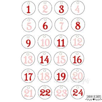 Stickdatei – 24 kleine Button – Adventskalenderzahlen 10×10