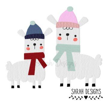 Stickdatei – Winter Lama 2 Größen 10×10/18×13