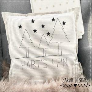 Stickdatei Tannenbaum Habts fein mit Sternen 18x13