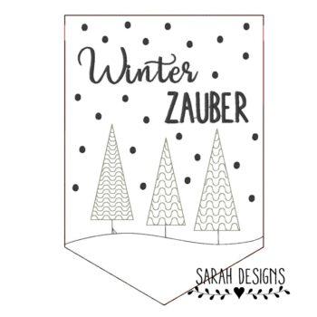 Stickdatei – 3 verschiedene Wimpel – WinterZAUBER 30×20