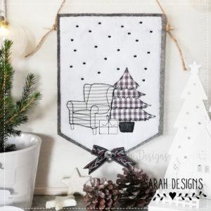 Stickdatei – Wimpel Weihnachtssessel 30×20