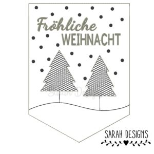 Stickdatei – 3 verschiedene Wimpel – Fröhliche Weihnacht 18×13