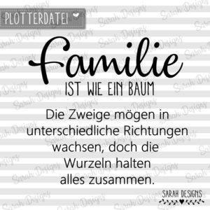 Plotterdatei Familie ist wie ein Baum