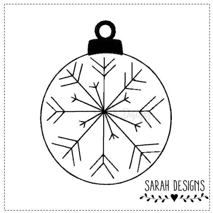 Stickdatei Weihnachtskugel Schneeflocke Snowflake In the hoop Datei 10x10