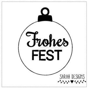 Stickdatei ITH Weihnachtskugel Frohes Fest 10×10