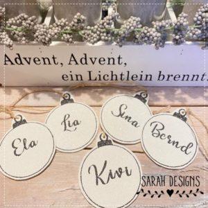 Stickdatei Weihnachtskugel mit Wunschname 10x10