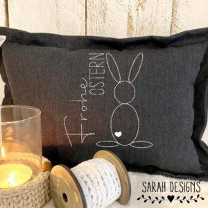 Stickdatei 4 Größen –  Frohe Ostern – Doodle Häschen