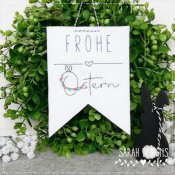Stickdatei – Blumenranke Frohe Ostern 10×10