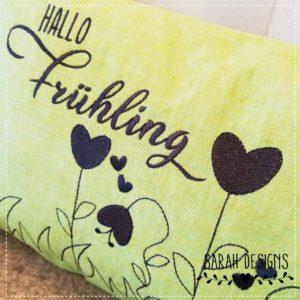 Stickdatei – ITH Kissen Hallo Frühling – 30×20
