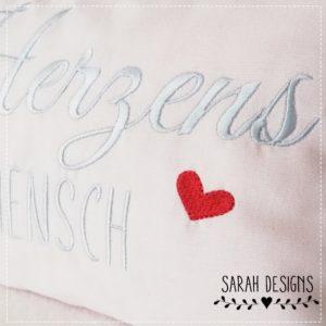 Stickdatei – ITH Kissen Herzensmensch – 30×20