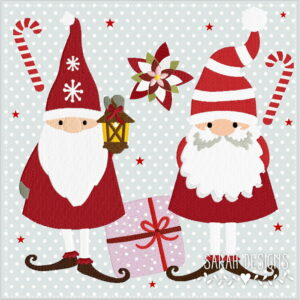 Stickdatei Gnome Elfen Weihnachtszwege 18x13